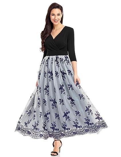 Luvamia Womens Surplice V Neck Sequin Tulle Long Maxi Homecoming