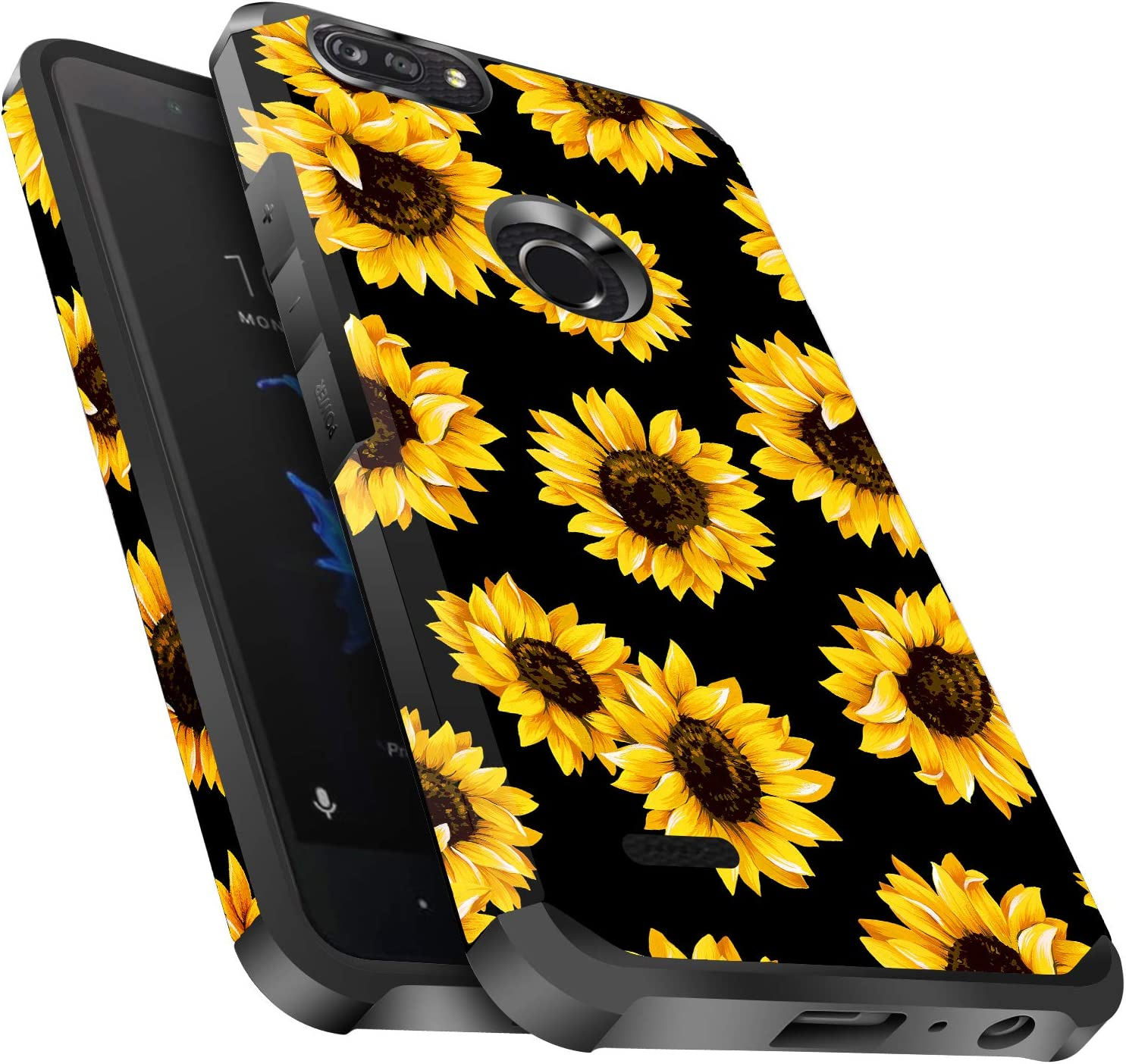 ZTE Blade Z Max Case, ZTE Blade Zmax Pro 2 Case, ZTE Sequoia Case, Miss Arts Slim Anti-Scratch Kit with [Drop Protection] Dual Layer Protective Cover Case for ZTE Z982 -Sunflower/Black