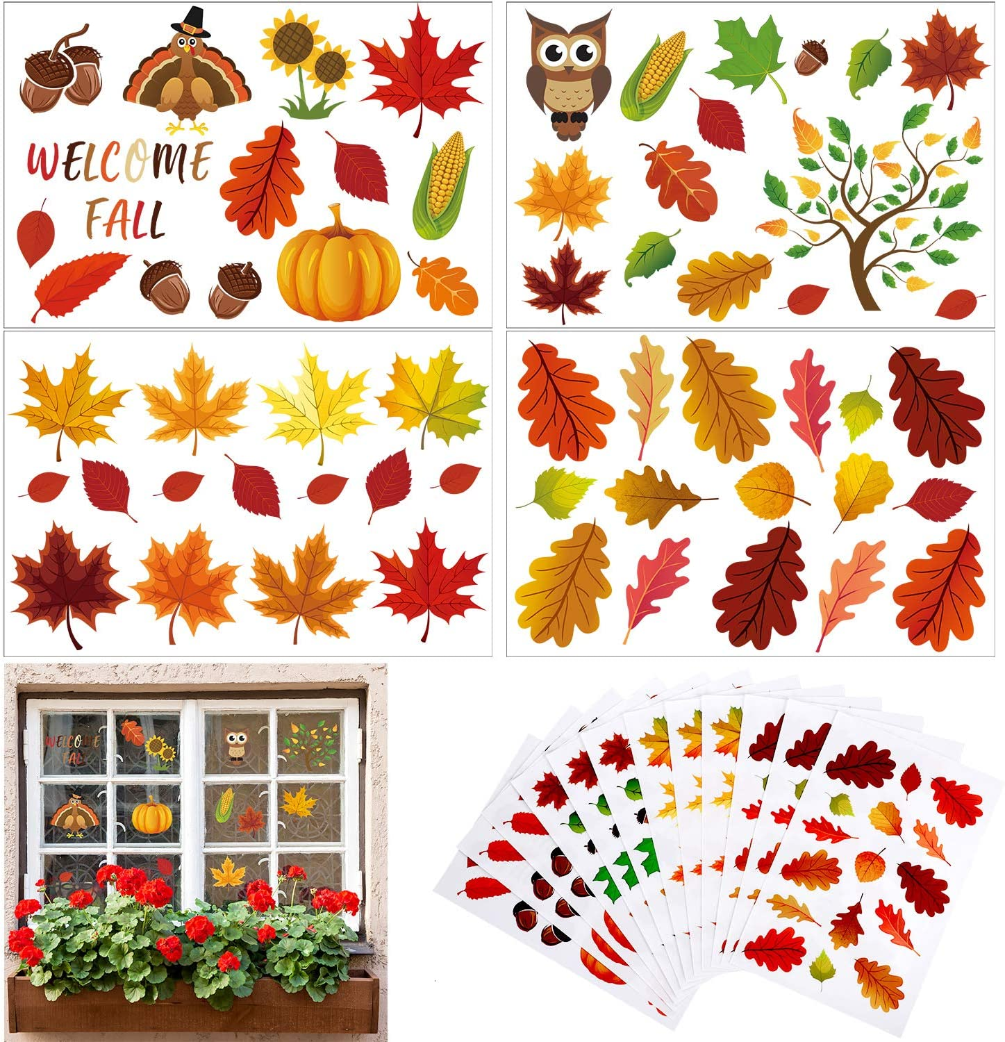 180 Pieces Thanksgiving Fall Autumn Leaves Acorns Window Sticker Maple Decorations Autumn Decals Party Decor Ornaments
