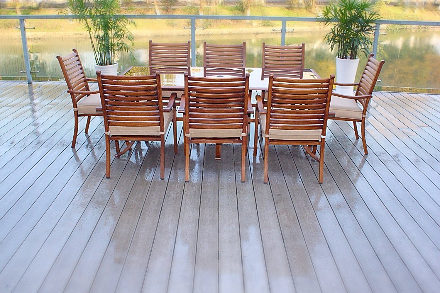 "Pebble Lane Living All Weather Rust Proof Indoor/Outdoor 9 Piece Cast Aluminum Patio Dining Set, 1 Tempered Tinted Glass Top Dining Table & 8 Dining Chairs in Premium Olfen Cushions, Wood Finish - 8 Hand Painted Aluminum Stacking Dining Chairs: 25"" W x 25"" D x 38"" H 1 Hand Painted Aluminum Patio Glass Top Dining Table with Umbrella Hole: 82"" L x 42"" W x 29"" H Outdoor All Weather Olifen Cushions with UV and Mold Treatment - patio-furniture, dining-sets-patio-funiture, patio - 81jdfMf3X8L -"