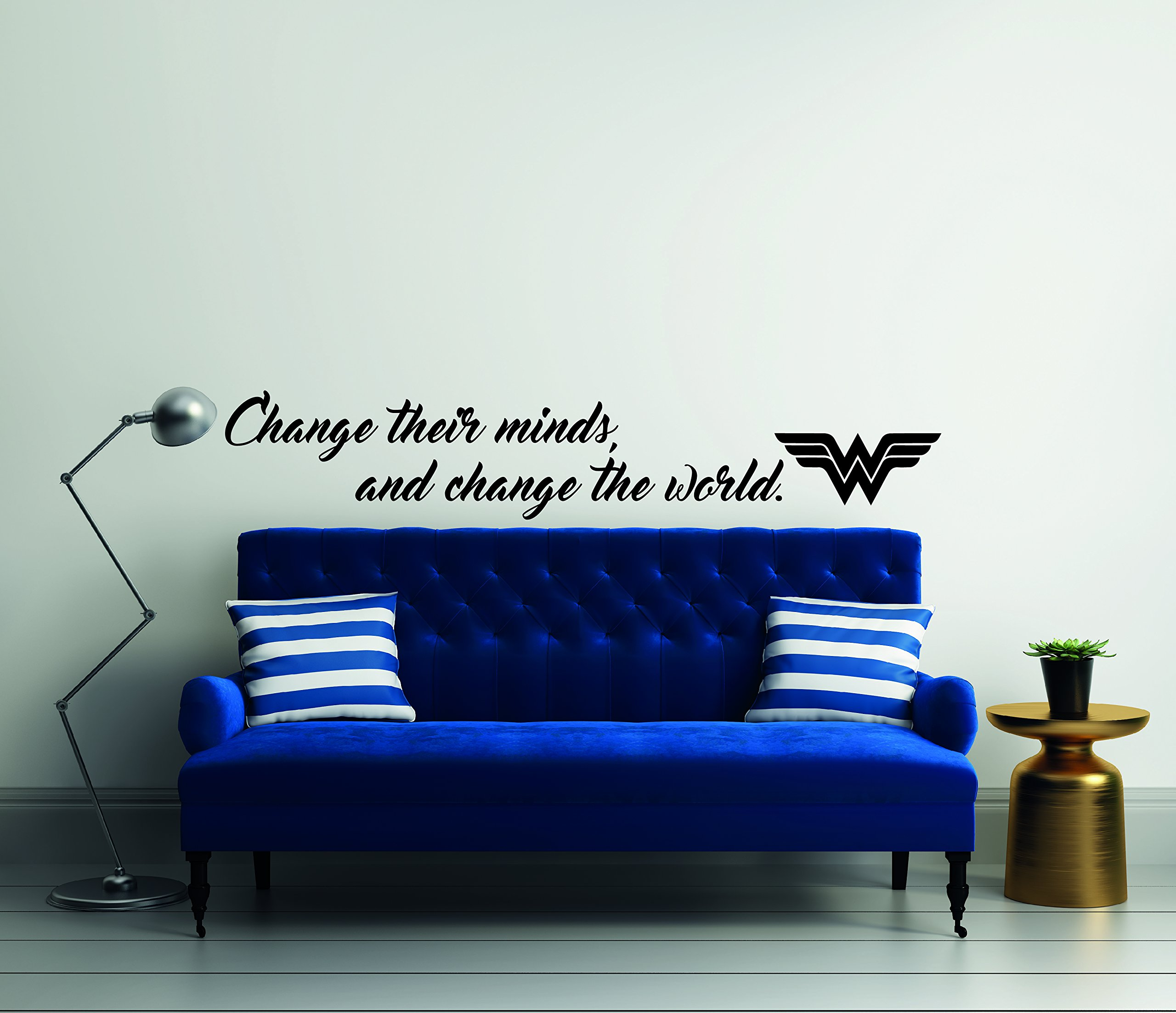 Change Their Minds And Change The World Quote Wonder Woman Mural Wall Decal For Home Bedroom Living Room (Wide 40'' x 7'' Height)