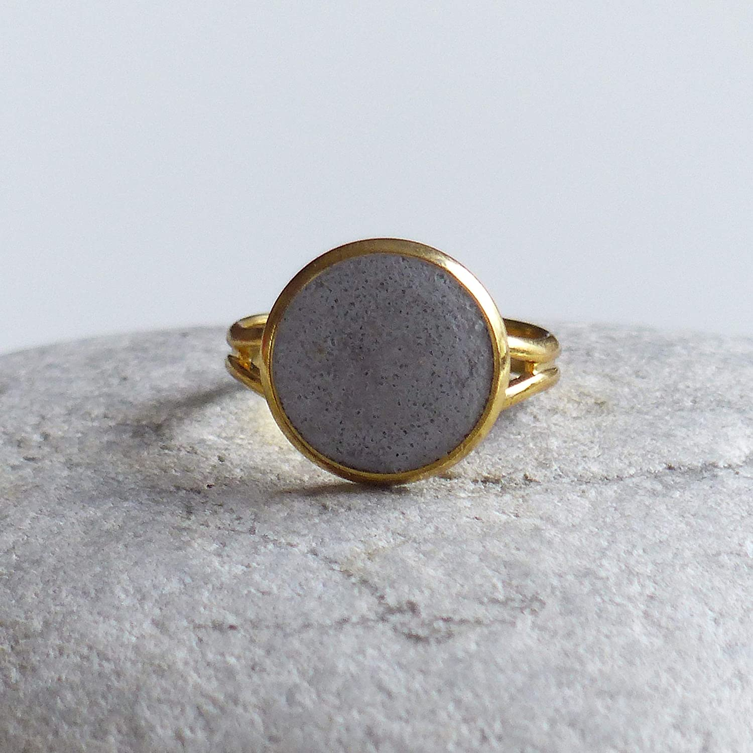 Amazon.com: Adjustable concrete dainty ring, Stainless steel boho ring: Handmade