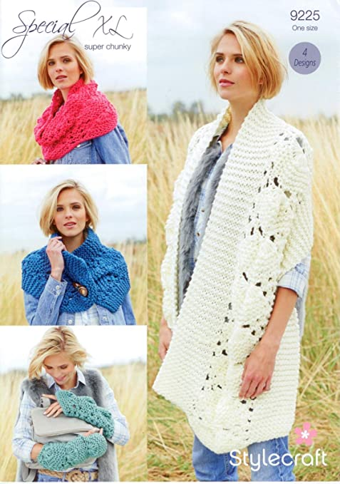 Stylecraft 9225 Knitting Pattern Scarf, Snood, Mitts and Button ...