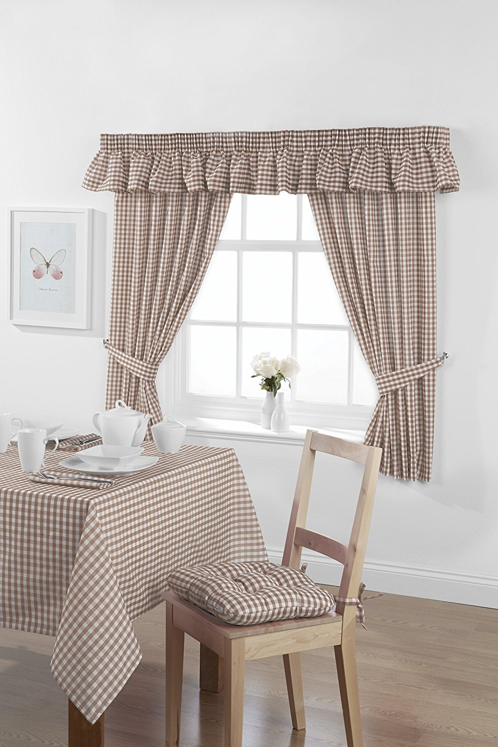 Country Look Gingham Check Oatmeal Unlined Readymade Curtain 46x42in 116x107cms Approximately Includes Tie