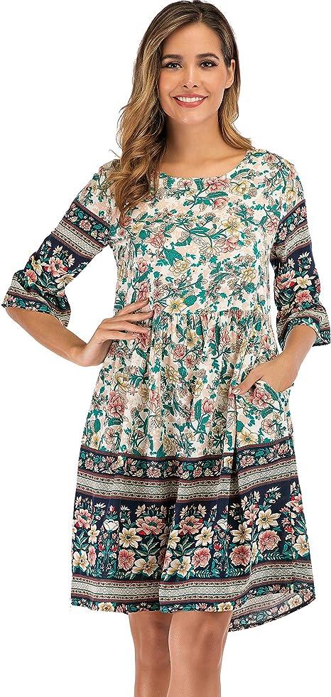 Vintage 70s  ETHNIC BOHEMIAN PATCHWORK Print Dress   Cotton Kaftan Style Maxidress  Spring Florals Gypsy Festival Muu Muu Size S-M