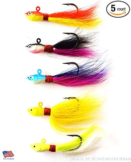 BUCKTAIL JIG SALTWATER Offshore Fishing for Striped Bass Flounder NEW 1 Oz