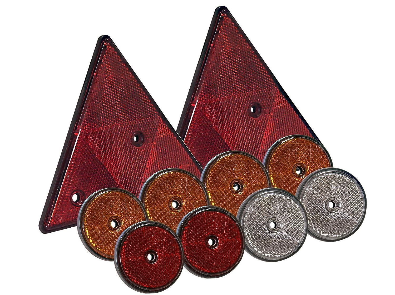 10 tlg Set Reflektoren rund und dreieckig mit Befestigungsloch orange weiß rot MS Warenvertrieb
