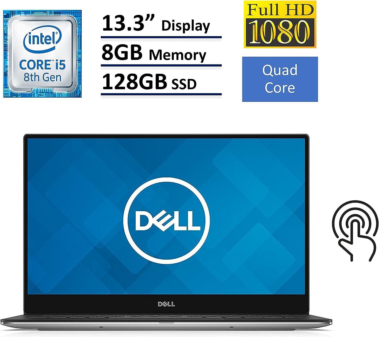 Dell XPS 13 9360 Laptop (13.3' InfinityEdge TouchScreen FHD (1920x1080), Intel 8th Gen Quad-Core i5-8250U, 128GB M.2 SSD, 8GB RAM, Backlit Keyboard, Windows 10)- Silver (Renewed)