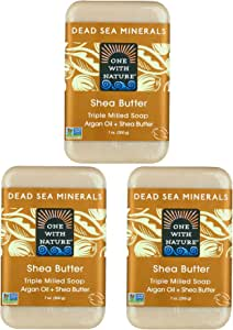 DEAD SEA Shea Butter SOAP 3 PK, Dead Sea Salt Includes Sulfur, Magnesium, etc. Argan Oil. All Skin Types, Problem Skin. Acne, Eczema, Psoriasis, Natural, Therapeutic, Natural Vanilla Scent