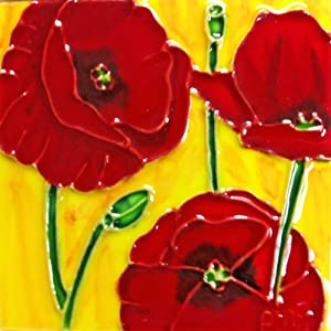 Continental Art Center SD-006 4 by 4-Inch Red Poppy Ceramic Art Tile