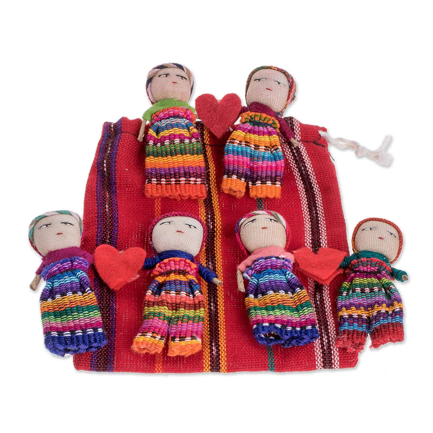 Set of 2 Pairs 2.5 NOVICA Valentines Theme Handmade Worry Doll Pairs from Guatemala with Hearts and Cotton Storage Pouch Love and Hope