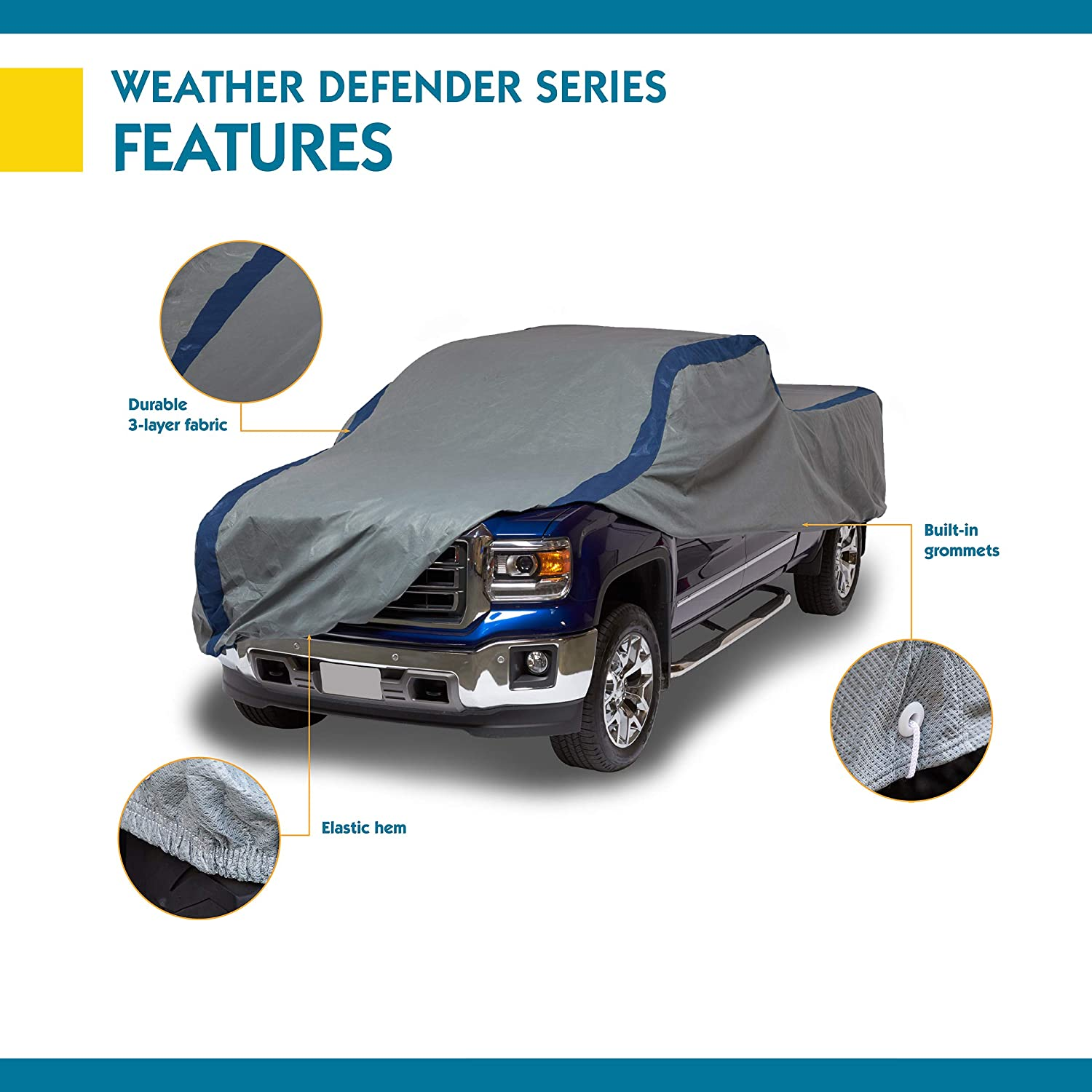 Duck Covers Weather Defender Pickup Truck Cover for Crew Cab Long Bed Dually Trucks up to 22