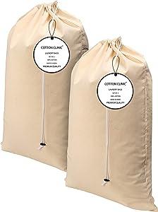 "Cotton Clinic 2 Piece Set Heavy Duty Cotton Laundry Bags Extra Large 24""x36"", Versatile, Multi Purpose, Natural Cotton Laundry Bag Drawstring for Delicates"