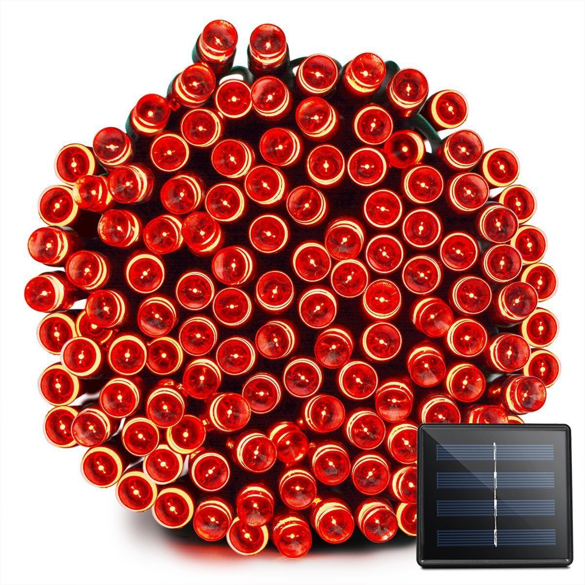 VMANOO Solar Christmas Lights, 72ft 22m 200 LED 8 Modes Solar String Lights for Outdoor, Indoor, Gardens, Homes, Party, Wedding, Xmas Tree Decorations, Waterproof (Red)