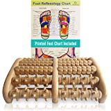 TheraFlow (XL) Dual Foot Massager Roller - Relax, Relieve Foot Pain, Plantar Fasciitis. 2019 Enhanced Model. Laminated Foot C