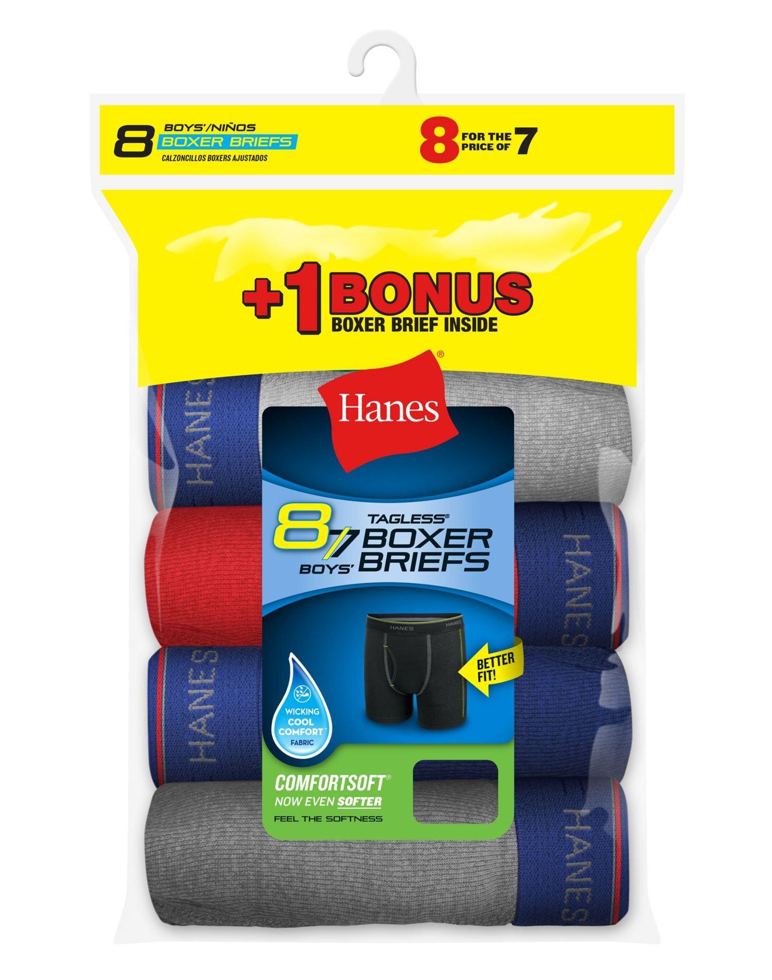 Hanes Boys Cool Comfort 8-Pack Boxer Briefs With Comfort Flex Waistband, XL