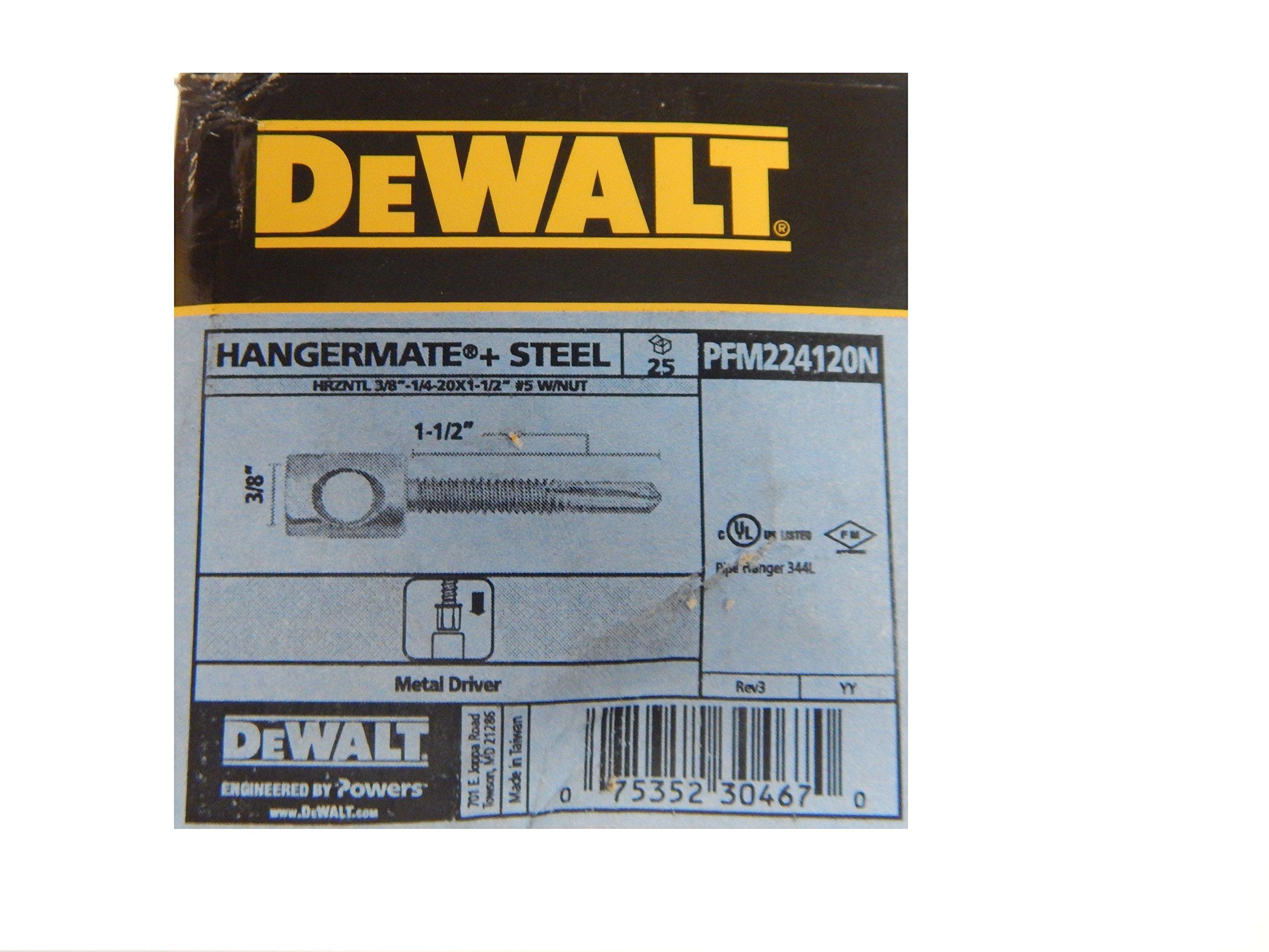 Dewalt Fasteners PFM224120N Hangermate+ Horizontal Steel Rod Hanging Anchor with Nut