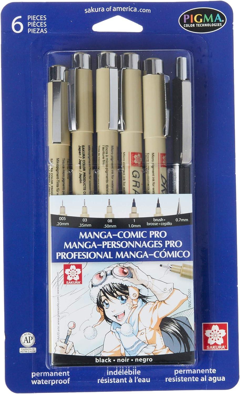 New Sakura 50203 8-Piece Pigma Manga Comic Pro Drawing Kit Free Ship