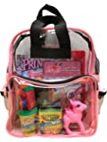 BusyBags - Activity Travel Bags for Kids - Hours of Quiet Activities - Durable See Through Backpack - Keep Your Kids Busy on Airplanes roadtrips Waiting at restuarants etc. - Girls