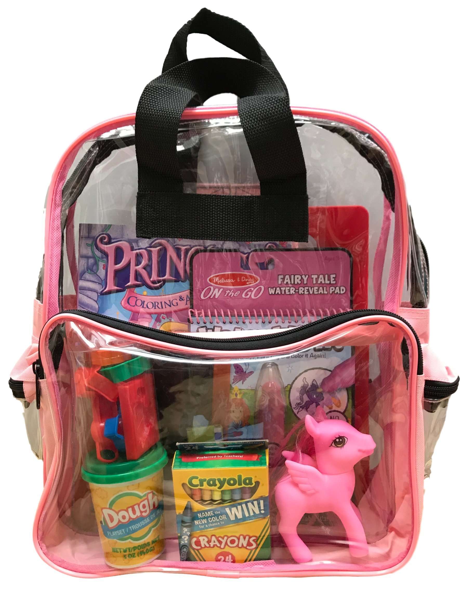BusyBags - Activity Travel Bags Kids - Hours Quiet Activities - Durable See Through Backpack - Keep Your Kids Busy on Airplanes, roadtrips, Waiting at restuarants, etc. - Girls