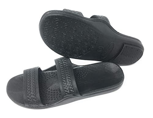 21e3250152d1c9 Image Unavailable. AJW Black Rubber Slide on Sandal