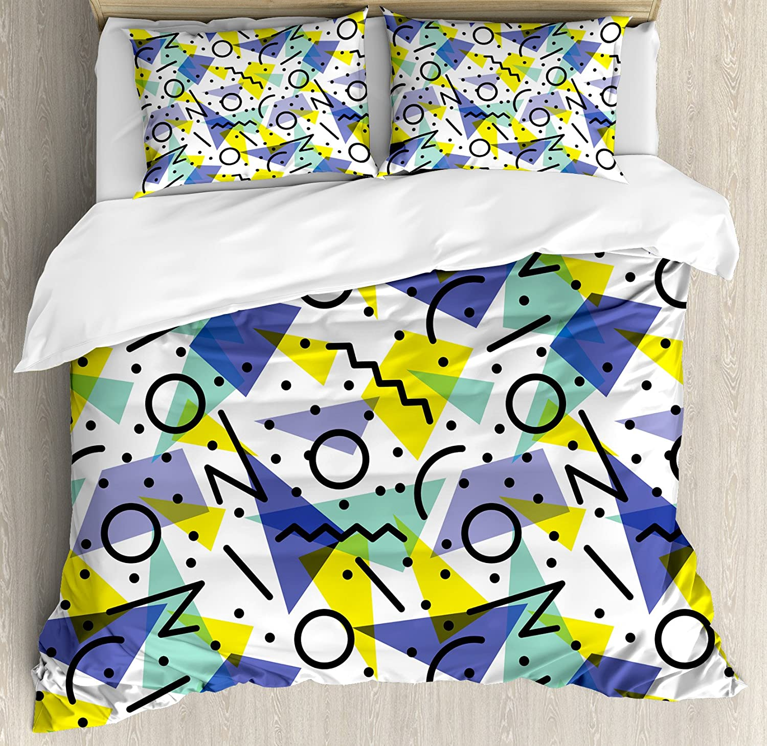Ambesonne Modern Duvet Cover Set, Geometrical Retro 80s Themed Image with Lines Circles and Spots Print, Decorative 3 Piece Bedding Set with 2 Pillow Shams, Queen Size, Yellow Black