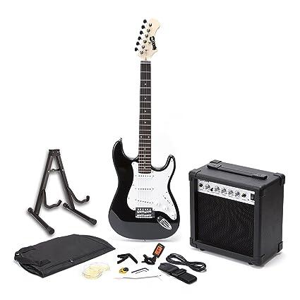 RockJam RJEGPKGUSA Full Size Electric Guitar SuperKit With 20 Watt Amp Stand Case