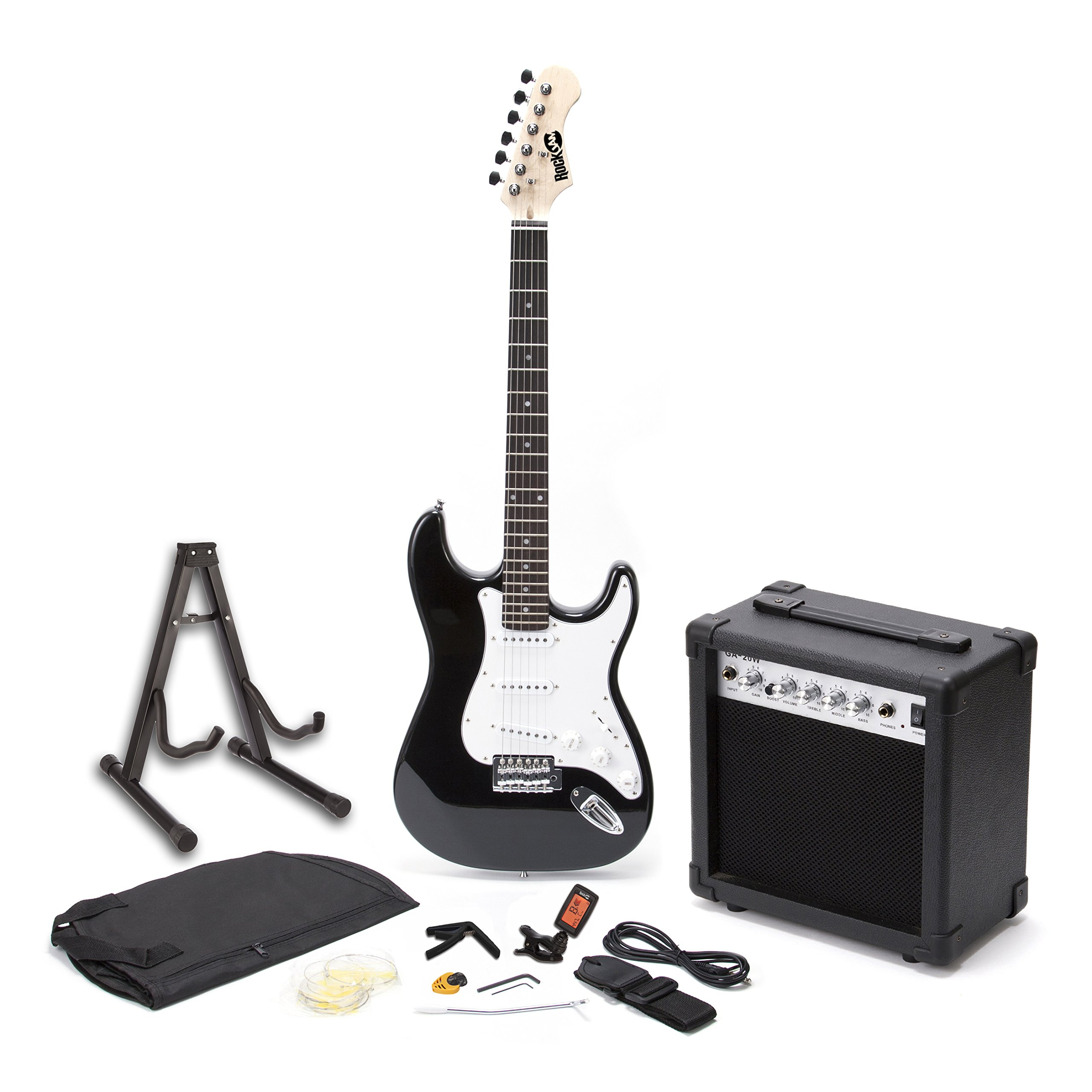RockJam Full Size Electric Guitar SuperKit with 20 Watt Amp, Guitar Stand, Case, Tuner, and Accessories