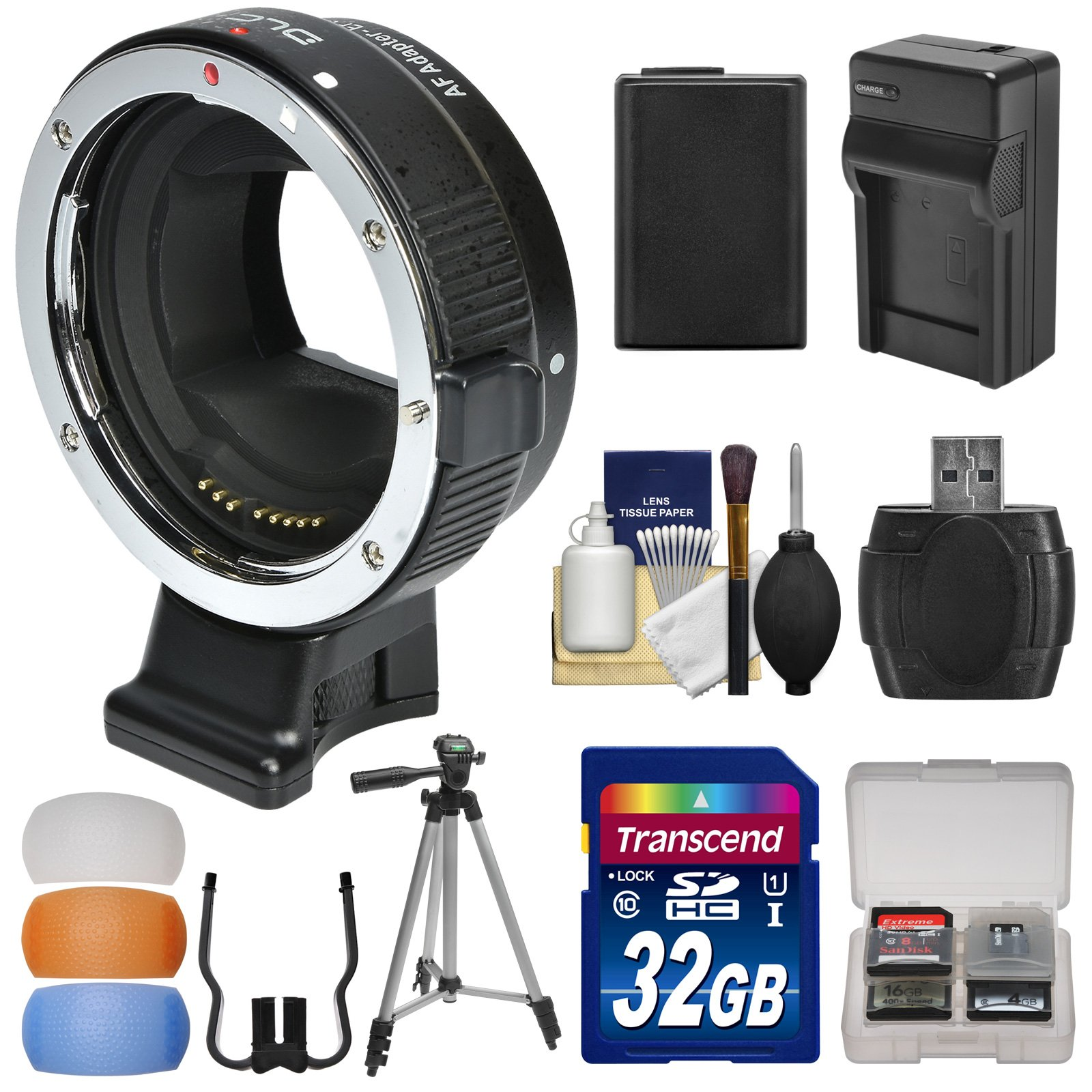 dlc Canon EOS EF Lens to Sony E-Mount Camera Mount Adapter with 32GB Card + NP-FW50 Battery & Charger + Case + Tripod + 3 Flash Diffusers Kit by DLC