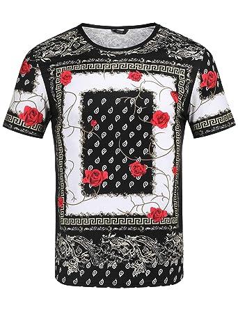 8b7a083d183c COOFANDY Men s Hipster Hip Hop T Shirt Luxury Graphic Printed Shirts Fashion  Street Tee