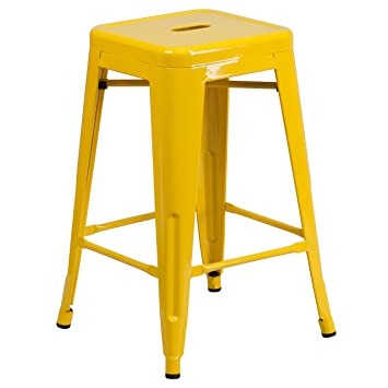 flash furniture high backless yellow metal counter height stool with