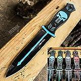 "Tactical Knife Survival Knife Hunting Knife 9.75"" Skull Full Tang Fixed Blade Knife w/ Sheath Razor Sharp Camping…"