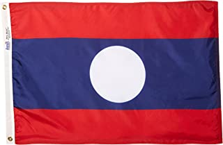 product image for Annin Flagmakers Model 194588 Laos Flag Nylon SolarGuard NYL-Glo, 2x3 ft, 100% Made in USA to Official United Nations Design Specifications