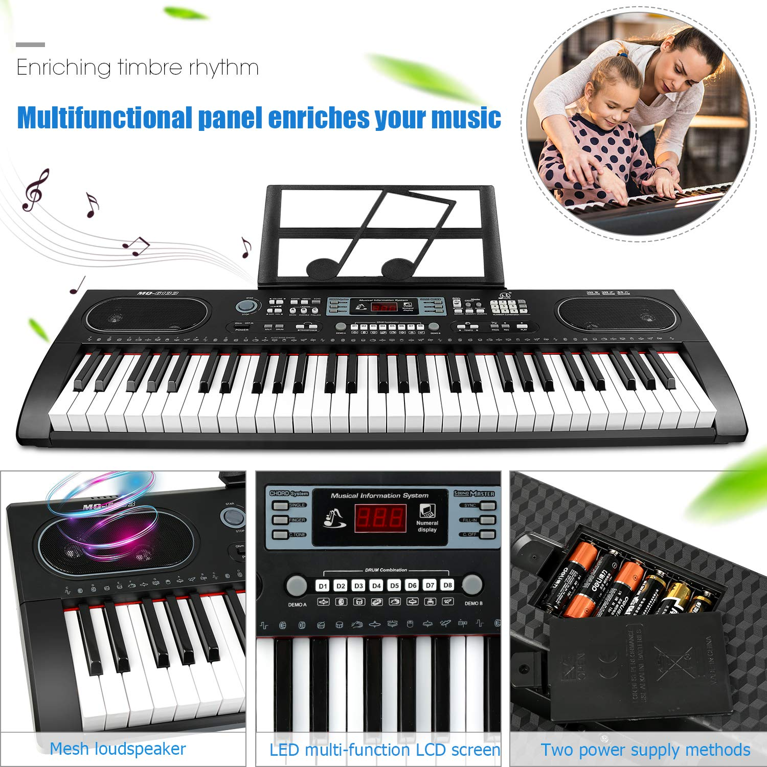ZJTL 61-Key Digital Electric Piano Keyboard &Music Stand &microphone- Portable Electronic Keyboard (Kids & Adults) MQ-6133 by ZJTL (Image #7)