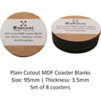 B SQUARE Plain Round Circle MDF Blank Coasters for DIY, Artwork, Decoupage, Do-it-Yourself Size: 95mm
