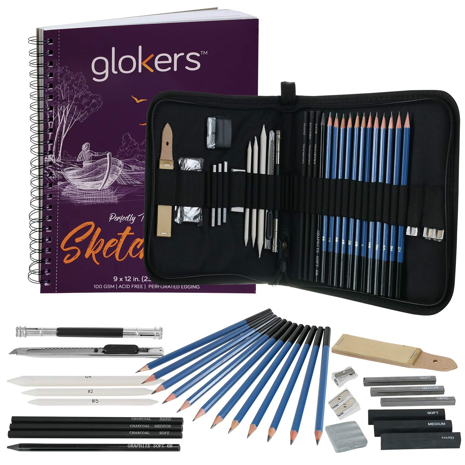 33-Piece Sketching Art Supplies Set by Glokers - Shading, Sketching & Drawing Pencils - 100 Sheet Sketch Pad, Eraser, Smudging Stump, Tortillon Drawing Tool, Sandpaper Block and More
