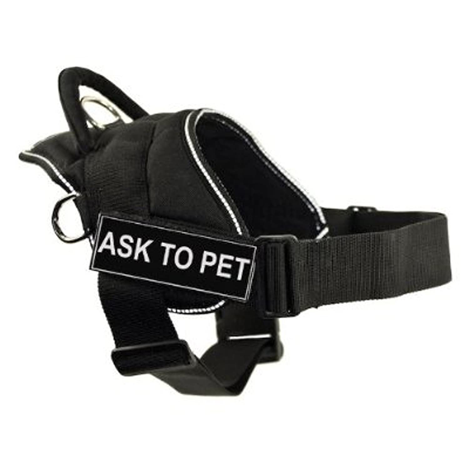 Dean & Tyler DT Fun Works Harness, Ask To Pet, Black with Reflective Trim, X-Small Fits Girth Size  20-Inch to 23-Inch