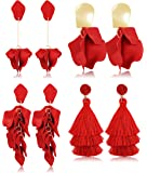 Udalyn 4 Pairs Rose Petal Drop Dangle Earrings for women set Fashion Boho Acrylic Flower Earrings Layered Tassle Earrings Gift