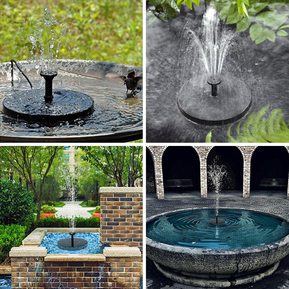 YmissL Solar Fountain, 2018 Upgraded Solar Powered Fountain Pump for Bird Bath, 1.4W Solar Panel Kit Water Pump,Outdoor Watering Submersible Pump for Pond, Pool, Garden, Fish Tank, Aquarium (Black3) by YmissL (Image #7)