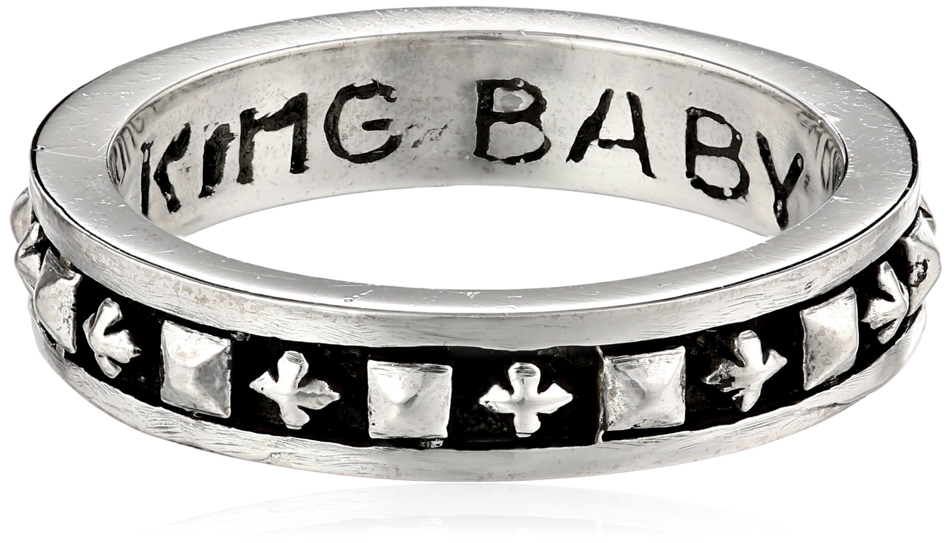 King Baby Men's Stackable Studded Ring with MB Crosses, Size 11 by King Baby (Image #1)