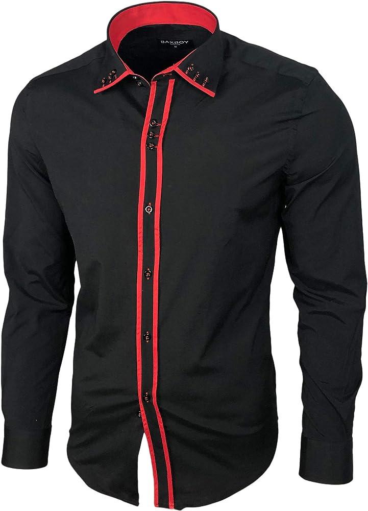 Baxboy B-500 - Camisa de manga larga para hombre, para negocios, tiempo libre, bodas, plancha, ajustada Negro / rojo 1 S: Amazon.es: Ropa y accesorios