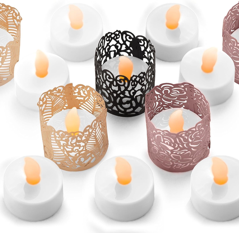 Velas de Té LED sin Llama - 24 Velas a Pilas Incluyen Fundas Decorativas en 3 Colores y Estilos Diferentes. Ideal para Bodas, Regalos, Vacaciones, Manualidades, Navidad - Caja de Seguridad para su Hog