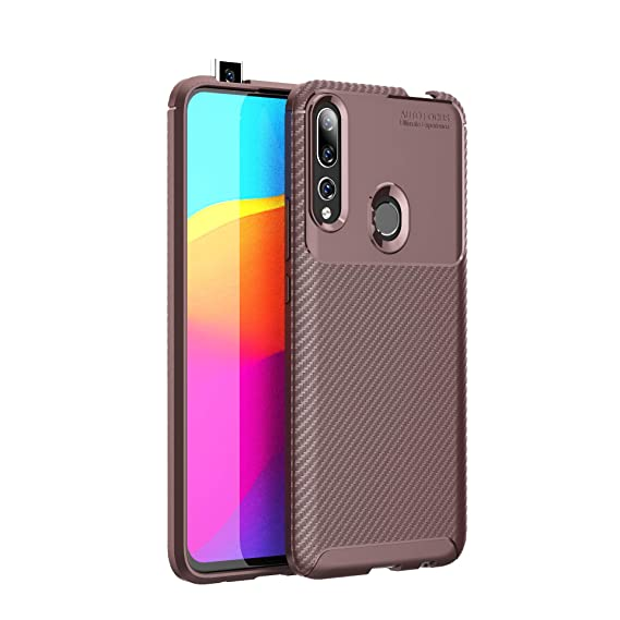 Huawei P Smart Z /Y9 Prime 2019 Case, Silicone Leather[Slim Thin] Flexible TPU Protective Case Shock Absorption Carbon Fiber Cover for Google Huawei P ...