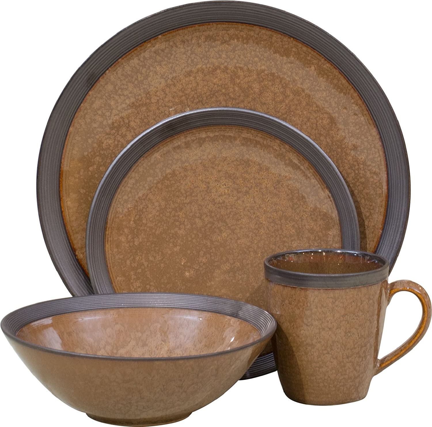 amazoncom sango 16 piece omega dinnerware set cocoa dinnerware sets - Stoneware Dishes