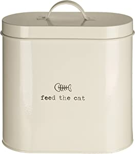 Premier Housewares Adore Pets Feed The Cat Food Storage Bin with Spoon, 2.8 L - Cream