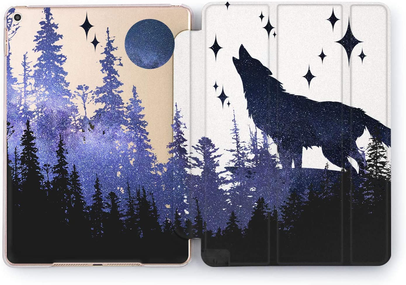 Wonder Wild Night Wolf Sky iPad 5th 6th Generation Tablet Nature Mini 1 2 3 4 Air 2 Pro 10.5 12.9 11 10.2 9.7 inch Smart Cover Trees Plants Space Blue Design Case Forest Purple Nature Beauty