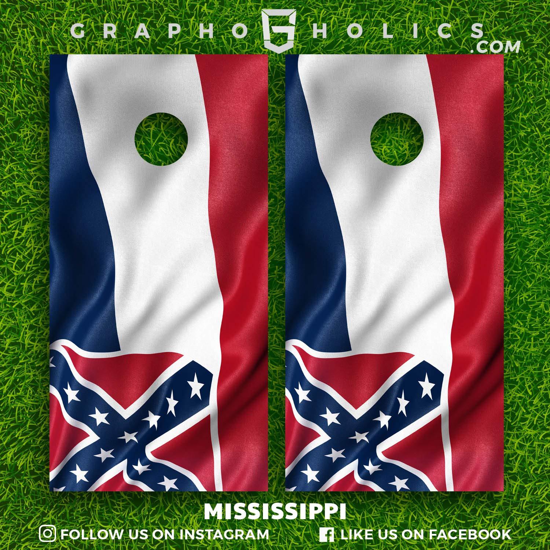 Mississippi Cornhole Boards Wraps Set