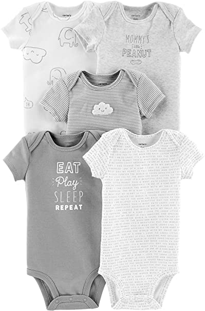 1e2b24dd4 Image Unavailable. Image not available for. Color: Carter's Unisex Baby  5-Pack Bodysuits - Gray Multi, Newborn