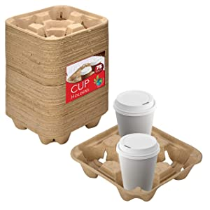4 Cup Disposable Coffee Tray (75 Count) - Biodegradable and Compostable Cup Holder - Durable Drink Carrier for Hot or Cold Drinks - to Go Coffee Cup Holder for Food Delivery Service, Uber Eats