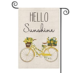 AVOIN Hello Sunshine Watercolor Bicycle Garden Flag Vertical Double Sized, Spring Summer Lemon Rose Holiday Yard Outdoor Decoration 12.5 x 18 Inch (Garden Size-12.5 x 18